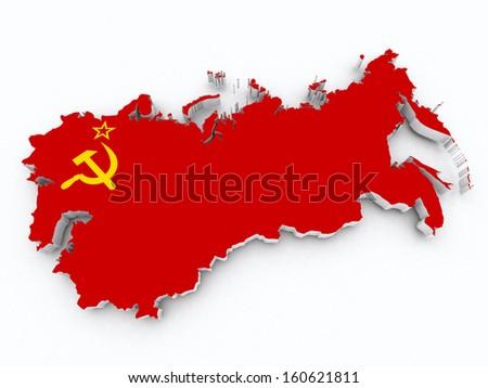 soviet union flag on 3d map - stock photo