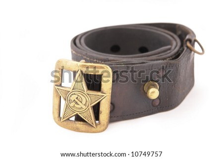 Soviet Union in the Second World War. Soviet standard senior officer belt. Copper buckle with big star and symbol of communism: sickle and hammer. WWII period - stock photo
