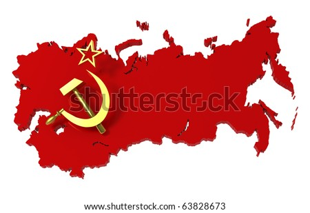 Soviet Union, USSR, map with flag, clipping path, 3d illustration - stock photo