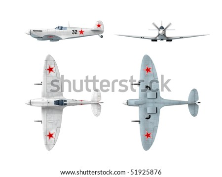 Soviet winter painting version of English Spitfire Supermarine WWII fighter. Drawings from 3d model - stock photo