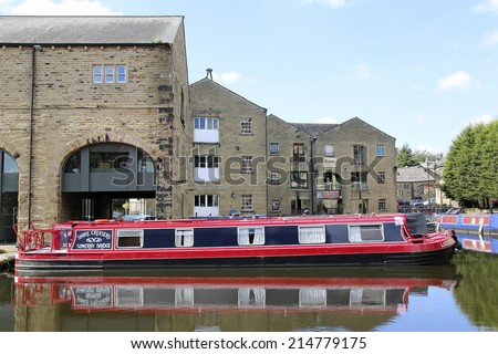 SOWERBY BRIDGE, ENGLAND - SEPTEMBER 1, 2014: Canal Basin, Sowerby Bridge is a market town that lies within the Upper Calder Valley in the district of Calderdale, West Yorkshire.