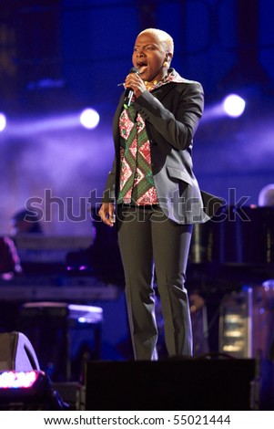 SOWETO - JUNE 10: Singer Angelique Kidjo performs at Orlando Stadium for the FIFA World Cup Kick Off Celebration Concert on June 10, 2010 in Soweto.