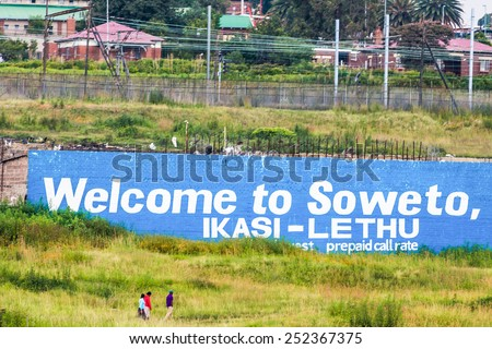 Soweto - South Africa, Jan 30: South West Township pictured on January 30th, 2015 in Johannesburg ,South Africa.  SOWETO is the most populous urban area in the country, with a population of a million. - stock photo