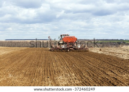 sowing of cereals. Spring   - stock photo