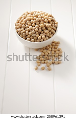 soy bean in a white bowl - stock photo