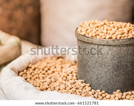 soy bean in gray tin can and white sack, selective focus