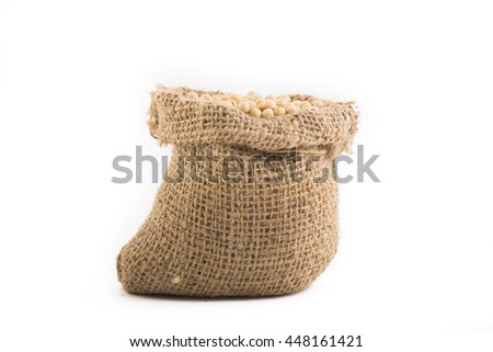 Soy bean in sackcloth - stock photo