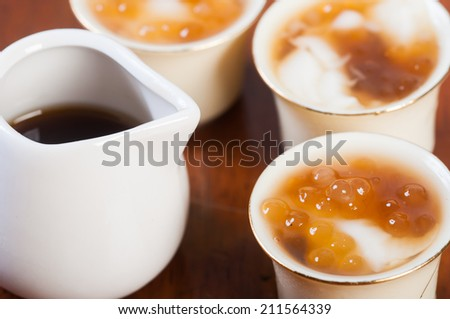 soy bean pudding also known as taho - stock photo