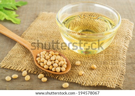 Soy beans and oil on sack