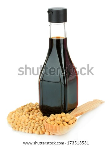 Soy beans and sauce isolated on white - stock photo