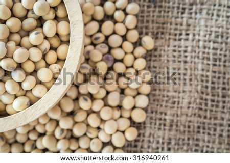 Soy Beans bowl on table - stock photo