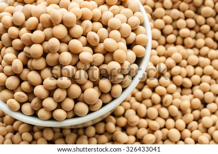 Soy beans in a bowl on wooden desk