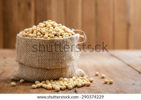 Soy beans in sack - stock photo