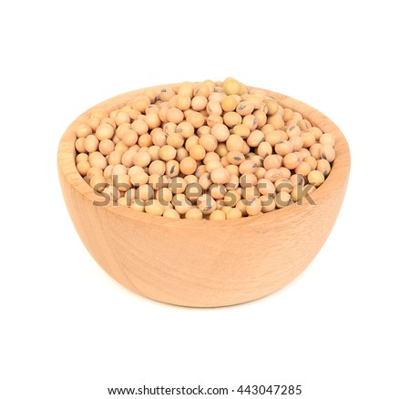 soy beans in wooden bowl on white background - stock photo