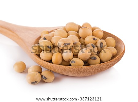 soy beans on white background - stock photo