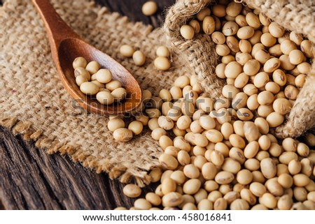 soy beans on wooden table