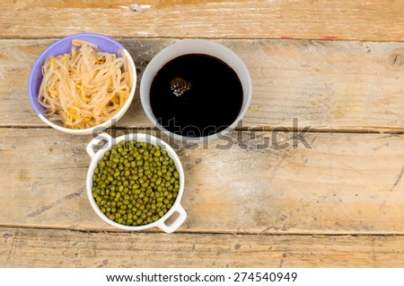 Soy beans, sprouts and sauce, Asian cuisine ingredients - stock photo