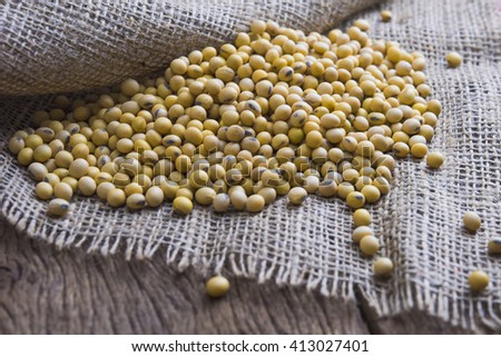 Soy beans with soft focus - stock photo
