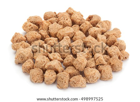 Soy dry cubes closeup isolated on white