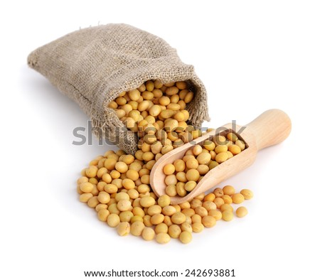 Soy in a bag. Isolated on white backgraund. - stock photo