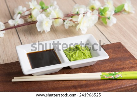 soy sauce and wasabi - Japanese cuisine spices - stock photo