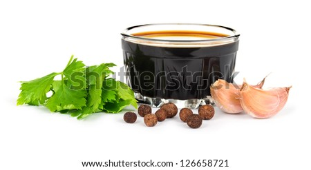 Soy sauce with herbs and spices - stock photo