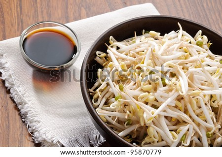 Soy sprouts and soy sauce - stock photo