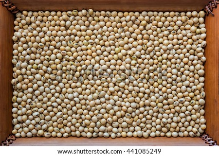 Soya bean organic on bamboo  frame background