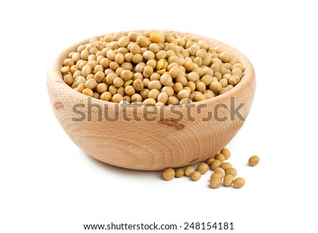 soya beans in a bowl isolated on white - stock photo
