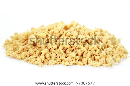Soya flakes on white background