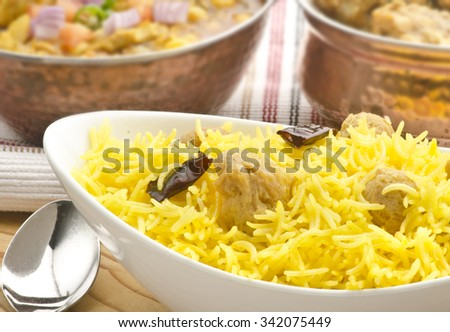 soyabean/neutrela pulao with chicken curry - stock photo