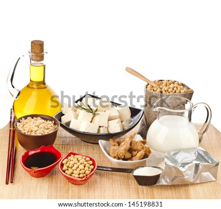 Soybean and Collection of Soy products isolated on white background - stock photo