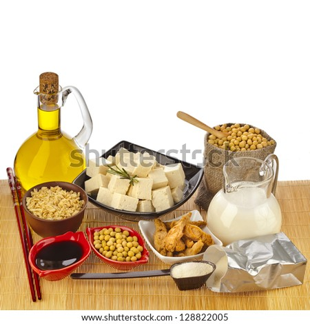 Soybean and Soy products isolated on white background - stock photo