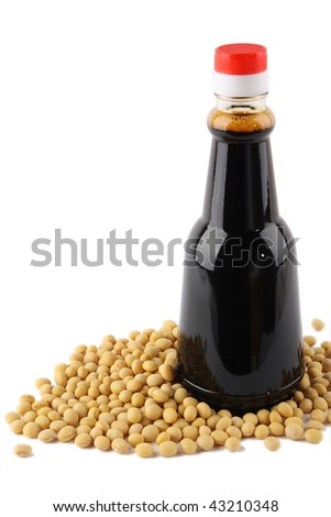 soybean and soy sauce - stock photo