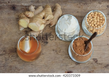soybean curd and ginger - stock photo