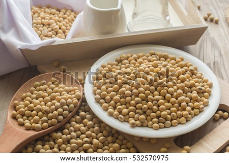 Soybean in white dish with wood spoon on wood table.