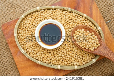 Soybean name Glycine max, Fabaceae family, rich protein, acid amino, vitamin, an organic, cheap, nutrition product, to process soy milk, soy sauce, tofu, cooking oil, suitable for diet menu - stock photo
