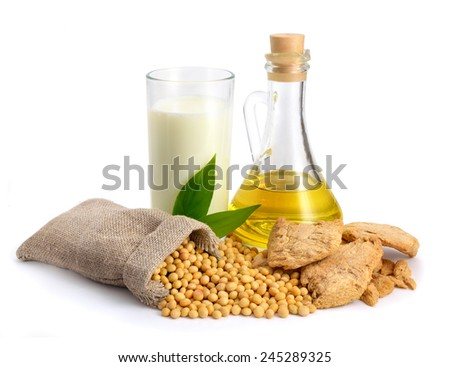 Soybean oil, milk, meat, seed. Isolated on white backgraund. - stock photo