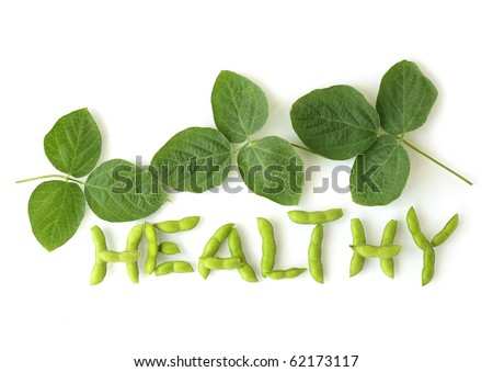 Soybean on the pod with leaves for healthy eating concept - stock photo
