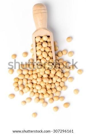 soybean on white, top view - stock photo