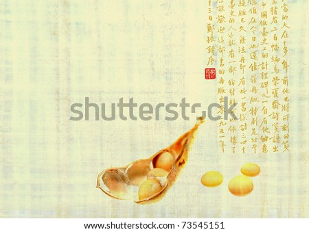 Soybean pod on texture oriental manuscript. Chinese characters with soy beans. Asian hieroglyphs - text on ancient background. - stock photo