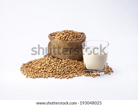 Soybeans and soy milk isolated on white background