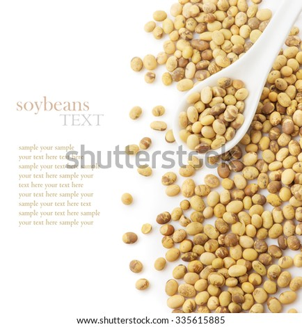 Soybeans in a white ceramic spoon isolated on a white background closeup - stock photo