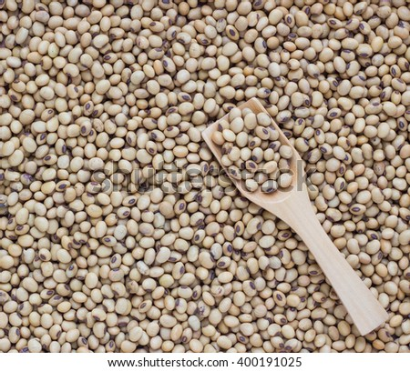Soybeans in a wooden spoon on Soybeans background - stock photo