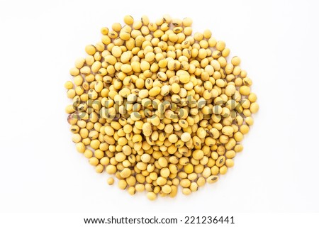 soybeans in isolate on white. - stock photo