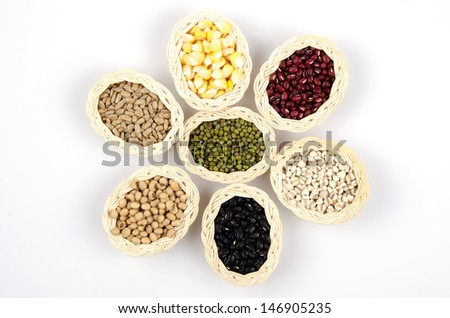 Soybeans, red beans, green beans, black beans, corn, millet, sunflower seeds. Healthy cereals - stock photo