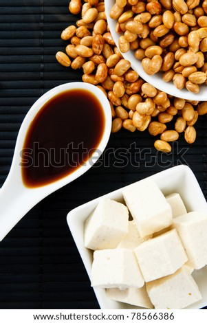 Soybeans, Soy Sauce and Tofu represent serious food allergens and a source of protein - stock photo