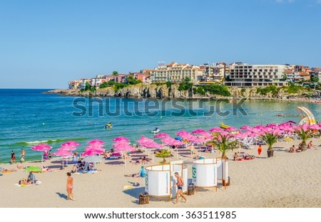 SOZOPOL, BULGARIA, JULY 17, 2015: Central beach and view of the Old Town. Sozopol was founded in the 7th century BC by Greek colonists. Today it is one of the major seaside resorts in the country