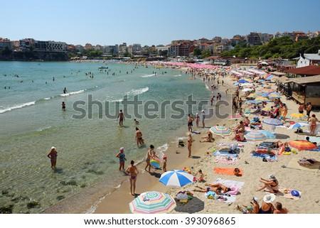SOZOPOL, BULGARIA - JULY 19: City beach on July 19, 2015 in town of Sozopol, Bulgaria. Sozopol is one of popular seaside resorts in Bulgaria. - stock photo