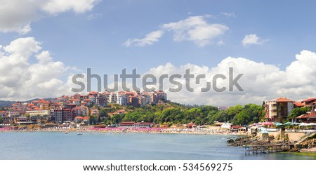 SOZOPOL, BULGARIA - July 16, 2013: Panoramic view of a beach line of town.